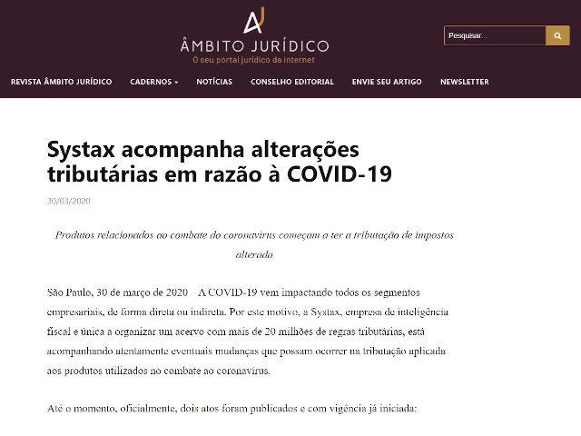Systax acompanha alterações tributárias em razão à COVID-19