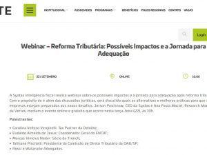 Webinar – Reforma Tributária: Possíveis Impactos e a Jornada para Adequação