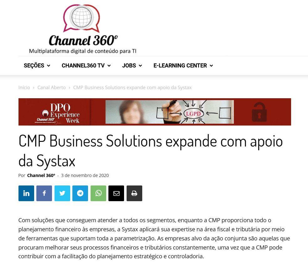 CMP Business Solutions expande com apoio da Systax