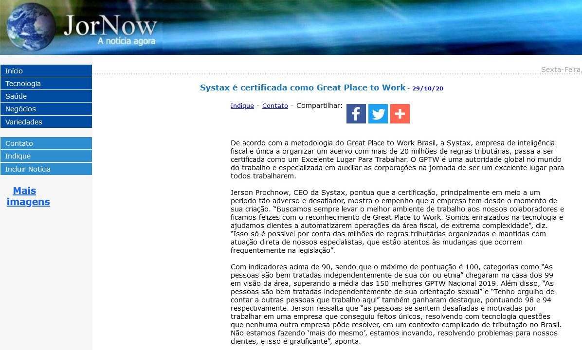 Systax é certificada como Great Place to Work