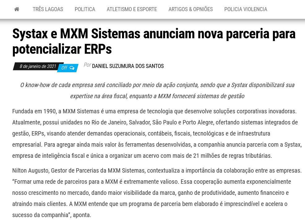 Systax e MXM Sistemas anunciam nova parceria para potencializar ERPs