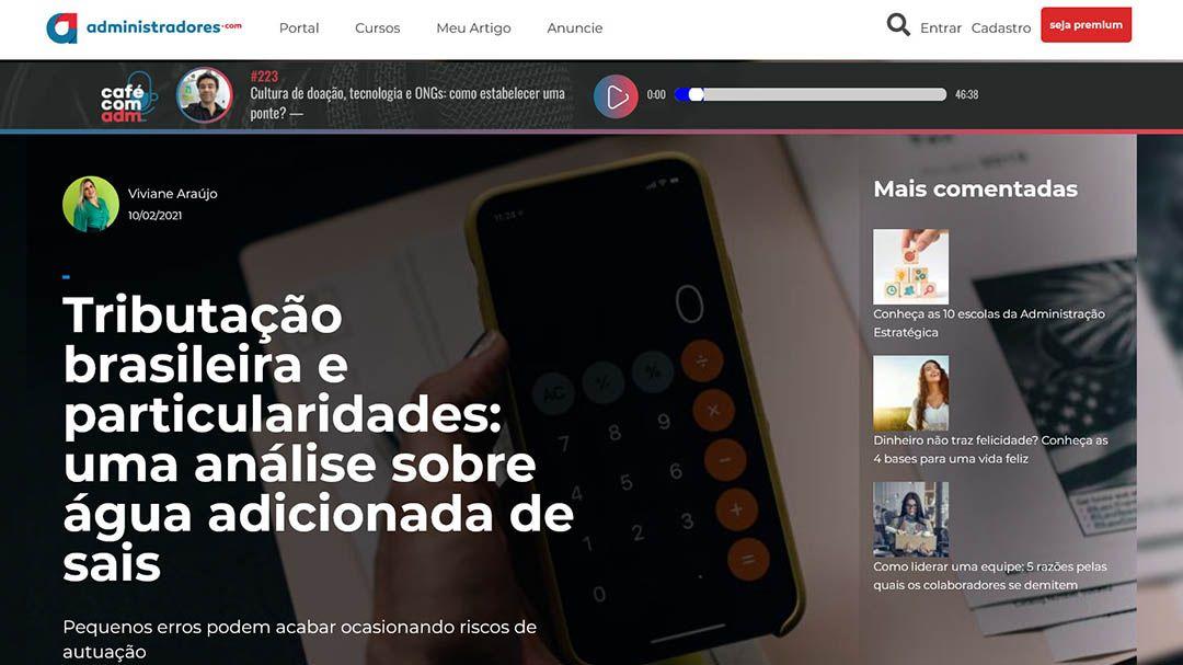 Tributação brasileira e particularidades: uma análise sobre água adicionada de sais