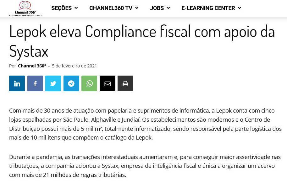 Lepok eleva Compliance fiscal com apoio da Systax