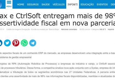 Systax e CtrlSoft entregam mais de 98% de assertividade fiscal em nova parceria