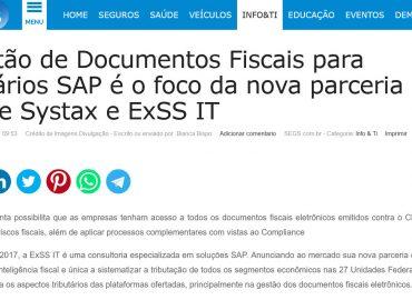 Gestão de Documentos Fiscais para usuários SAP é o foco da nova parceria entre Systax e ExSS IT