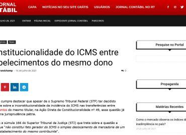 Inconstitucionalidade do ICMS entre estabelecimentos do mesmo dono