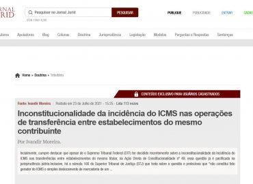 Inconstitucionalidade da incidência do ICMS nas operações de transferência entre estabelecimentos do mesmo contribuinte
