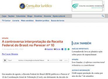 A controversa interpretação da Receita Federal do Brasil no Parecer nº 10