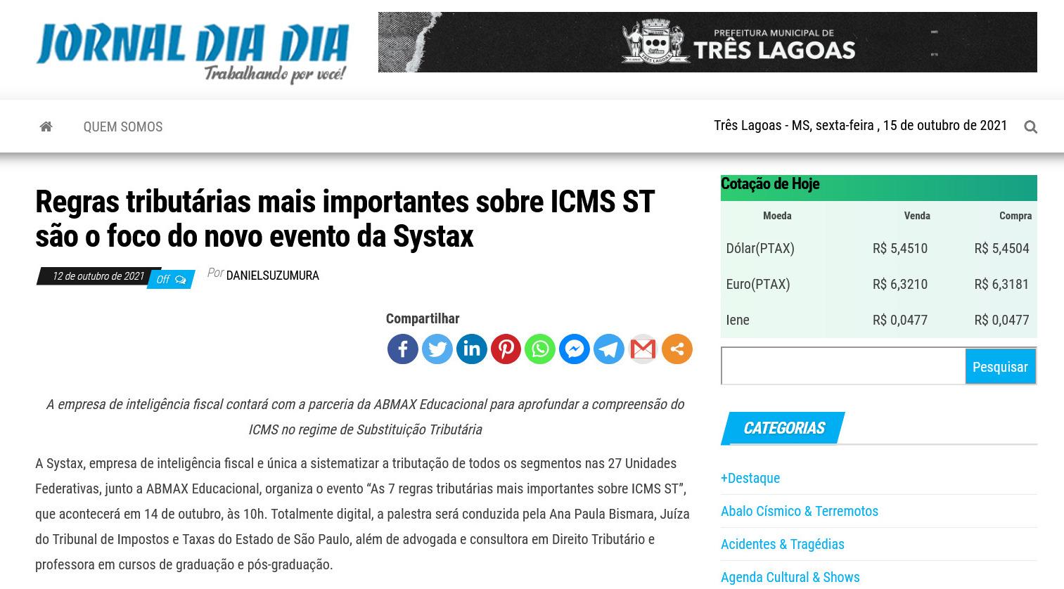 Regras tributárias mais importantes sobre ICMS ST são o foco do novo evento da Systax